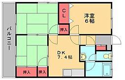 福岡県福岡市博多区東月隈3丁目の賃貸アパートの間取り