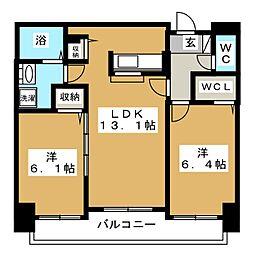 ミカーレ・トーゲン[4階]の間取り