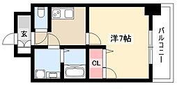 エスリード大須観音プリモ 2階1Kの間取り