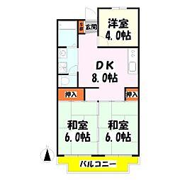 西新井サニーコーポ[206号室]の間取り
