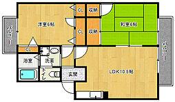 京都府宇治市莵道西中の賃貸アパートの間取り