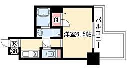 プレサンス錦プレミアム 8階1Kの間取り