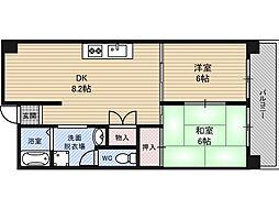 生島リバーサイドマンションB棟[8階]の間取り