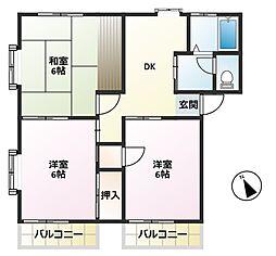 昭和コーポ若松町II[2階]の間取り