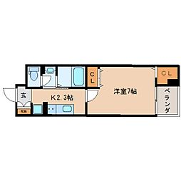 JR東海道本線 東静岡駅 徒歩10分の賃貸マンション 2階1Kの間取り