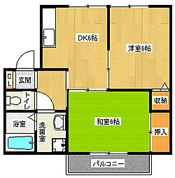 京都府京都市西京区山田弦馳町の賃貸アパートの間取り