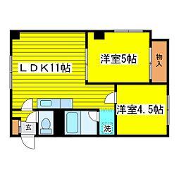 北海道札幌市東区北十三条東16丁目の賃貸マンションの間取り