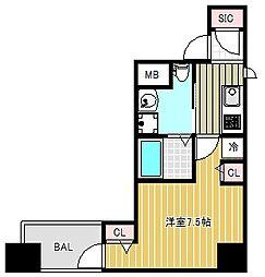 エステムコート北堀江[15階]の間取り
