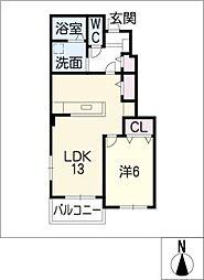 サニールピナスII[1階]の間取り