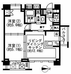 レジディア新宿イーストII[0601号室]の間取り