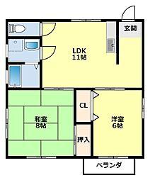 愛知県豊田市小坂本町5丁目の賃貸アパートの間取り