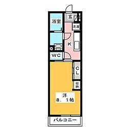 リブリ・瑠璃・鎌倉 1階1Kの間取り