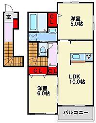 レジデンス木屋瀬 B棟 2階2LDKの間取り