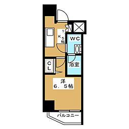 ニューガイア リルーム芝NO.28 3階1Kの間取り