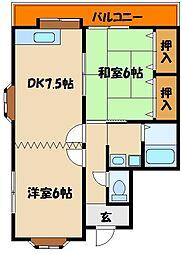 ハウスコートヤマフジ D棟[1階]の間取り