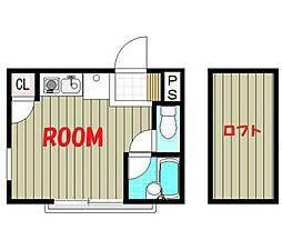 グッドウィル三枚町B棟 2階ワンルームの間取り