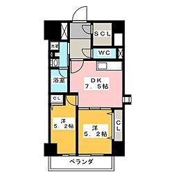 パークアクシス新栄 6階2DKの間取り