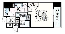 プレサンス神戸元町ベルシオン 3階1Kの間取り