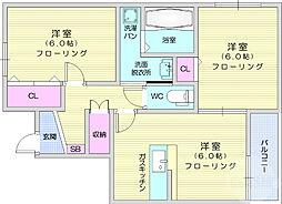 リバーサイド三樹8号館 1階2LDKの間取り