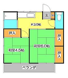 コーポ北斗[1階]の間取り