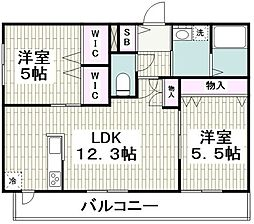 (仮称)平戸町メゾンB棟 1階2LDKの間取り