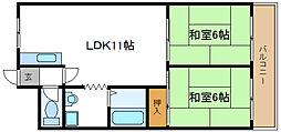メゾンカタケ 4階2LDKの間取り