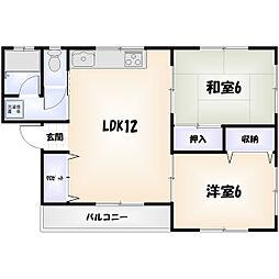 ハイツAOKI[1階]の間取り