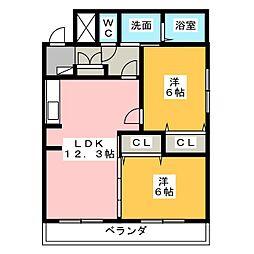 サンクレスト清水[2階]の間取り