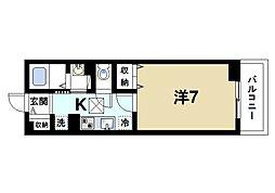 近鉄奈良線 近鉄奈良駅 徒歩11分の賃貸アパート 1階1Kの間取り