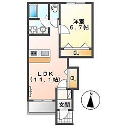 (仮称)前貝塚町新築アパートA棟 1階1LDKの間取り