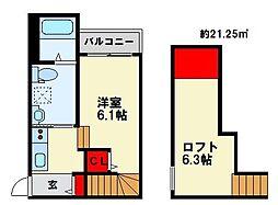プレジール南福岡 1階1Kの間取り