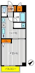 JR中央線 立川駅 徒歩7分の賃貸マンション 2階1DKの間取り