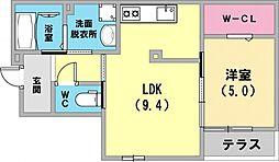 メゾン リール リール 1階1LDKの間取り