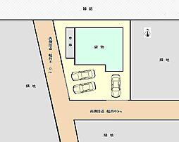 配置図です。駐車は、西側から2台、南から1台停められるよう駐車場を拡幅いたしました。