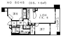ライオンズ大阪高津公園グランフォート[303号室号室]の間取り