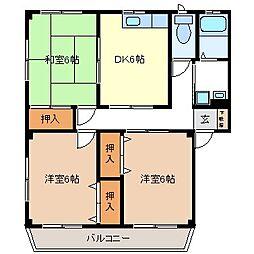 コーポ桜田[3階]の間取り