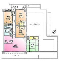 藤和ライブタウン緑山弐番館[6階]の間取り