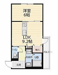JR宇野線 大元駅 徒歩10分の賃貸マンション 4階1LDKの間取り