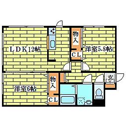 リバティ里塚[3階]の間取り