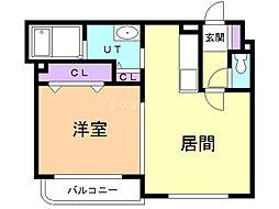 FUKUTOKU 4階1LDKの間取り