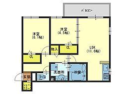 大阪府大阪市生野区巽南1丁目の賃貸アパートの間取り