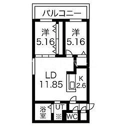 癒禅32 3階2LDKの間取り