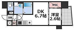 セレニテ谷九プリエ 8階1DKの間取り