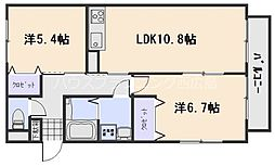 JR山陽本線 新井口駅 徒歩10分の賃貸アパート 2階2LDKの間取り