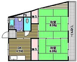 大津池コーポ[4階]の間取り