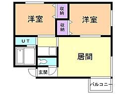 セントラル35 2階2LDKの間取り