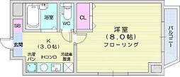 はちさんマンション 2階1Kの間取り