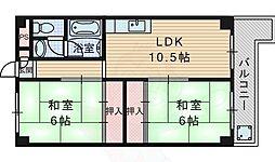 阪急千里線 関大前駅 徒歩7分の賃貸マンション 2階2LDKの間取り