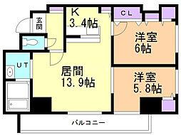 サンコート本郷通ガーデンヒルズ 6階2LDKの間取り