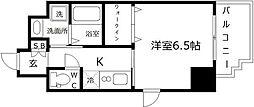 アール大阪グランデ 2階1Kの間取り